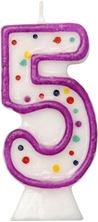 Picture of AGE 5 NUMERAL MOULDED CANDLE PURPLE 8CM