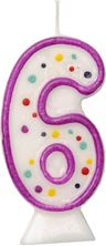 Picture of AGE 6 NUMERAL MOULDED CANDLE PURPLE 8CM