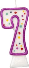 Picture of AGE 7 NUMERAL MOULDED CANDLE PURPLE 8CM
