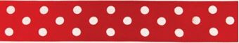 Picture of RED POLKA DOT CAKE RIBBON REEL 2.5CM WIDE