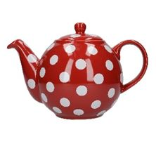 Picture of LONDON POTTERY GLOBE TEAPOT, RED/WHITE SPOT, 4 CUP IN BOX