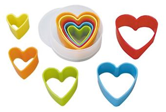 Picture of HEART PLASTIC CUTTERS SET MULTI-COLOURED