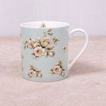 Picture of KATIE ALICE COTTAGE FLOWER CAN MUG GREEN, SWING TAG