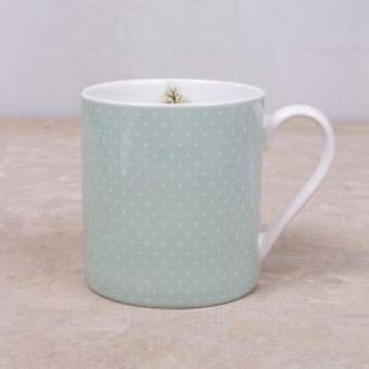 Picture of KATIE ALICE COTTAGE FLOWER CAN MUG GREEN SPOTS, SWING TAG