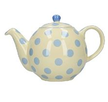 Picture of LONDON POTTERY GLOBE TEAPOT, IVORY/BLUE SPOT, 4 CUP IN BOX