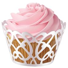 Picture of WILTON WRAP SWIRLS CUPCAKE WRAPS WHITE X18PCS