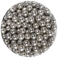 Picture of DECORA BIG SILVER SUGAR PEARLS 8MM X 1 GRAM MIN ORDER 50G