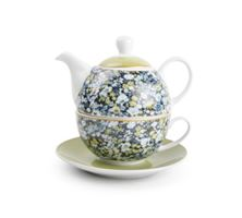 Picture of TEA FOR ONE WITH SAUCER BLUE GREEN FLOWERS