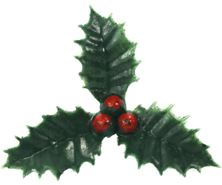 Picture of HOLLY & BERRIES PLASTIC CAKE TOPPER PICKS GREEN/RED4CM (1.5)